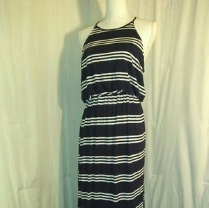 Ann Taylor LOFT bright blue and white dress Maxi